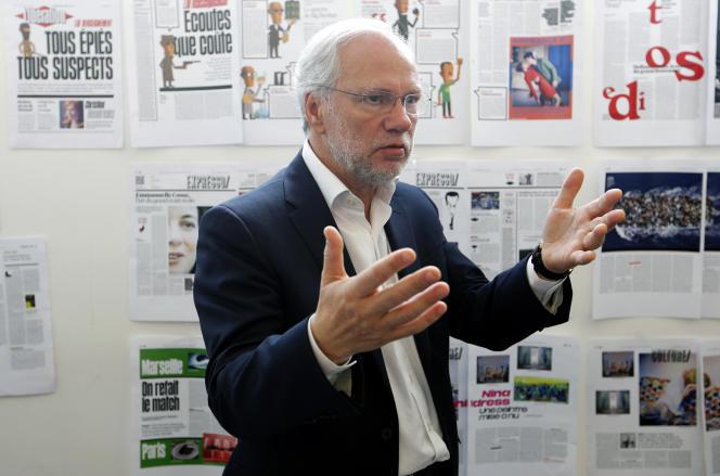Laurent Joffrin dans les locaux de Libération à Paris, en mai 2015.