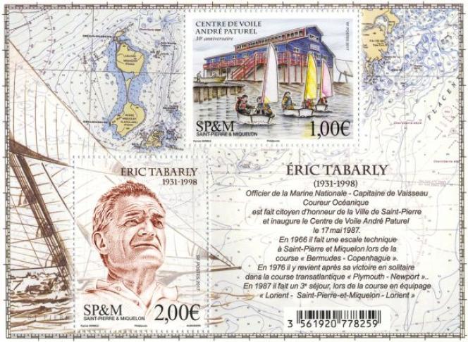 « Eric Tabarly»: timbre créé par Patrick Dérible, Grand Prix de l'art philatélique 2018.