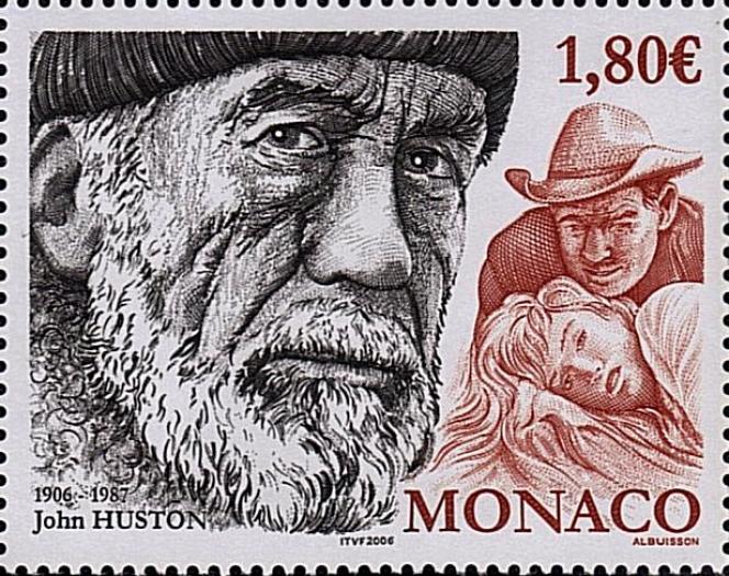 «John Huston»: timbre dessiné et gravé par Pierre Albuisson pour Monaco.