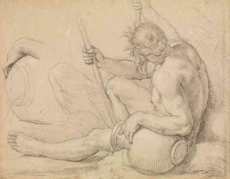 «Ce dessin,que j'avais acheté comme anonyme, a été réalisé par un gaucher (comme en témoigne le sens des hachures): c'est une étude de figure, avec reprise de la main du personnage en haut à gauche, qui reste académique.»