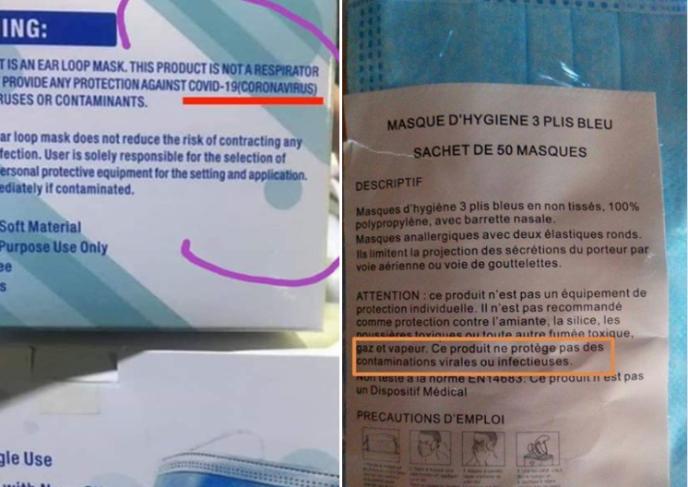 Pourquoi est-il marqué sur des boîtes de masques qu'ils ne protègent pas  des virus ?