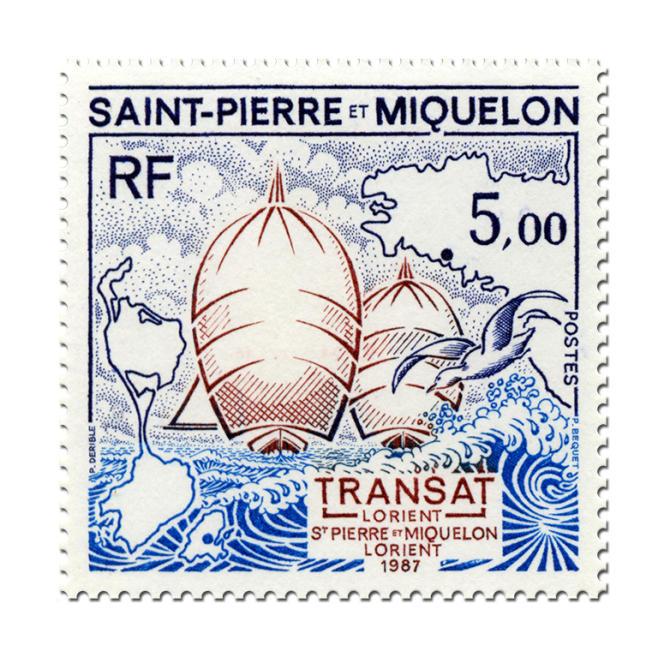 Le premier timbre de Patrick Dérible pour Saint-Pierre-et-Miquelon (1987).