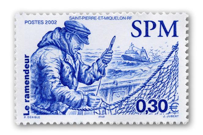 « Le ramendeur», timbre de Patrick Dérible gravé par Jacques Jubert (2002)
