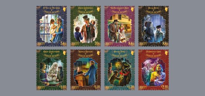 Série de timbres sur Dickens à Jersey, en vente à partir du 9 juin.