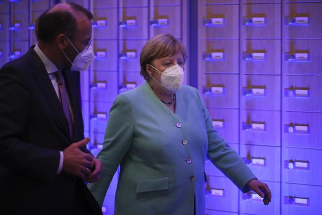 Angela Merkel au Parlement européen, à Bruxelles, le 8 juillet.