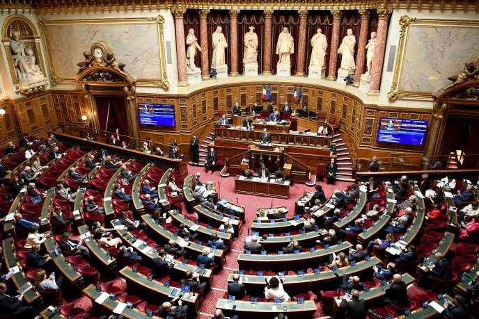 Intervention du premier ministre, Jean Castex, au Sénat, le 16 juillet à Paris.