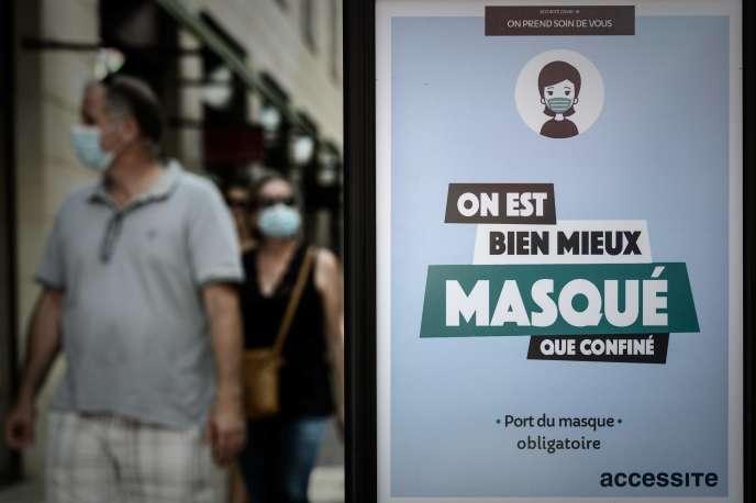 A Bordeaux, le 18juillet, deux jours avant l'entrée en vigueur de l'obligation du port du masque dans les espaces clos.