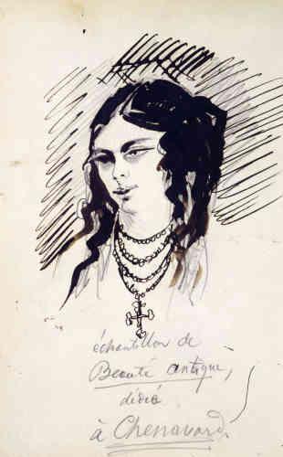« A l'inverse de Victor Hugo, qui fut un dessinateur prolifique, Charles Baudelaire n'a réalisé qu'une trentaine de feuilles : surtout à la plume, et influencé par Constantin Guys (1802-1892). Charles Baudelaire s'est distingué davantage par ses ambitions que ses réalisations graphiques.»