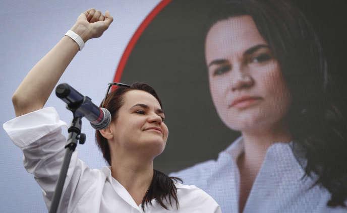 Svetlana Tikhanovskaya, candidate à l'élection présidentielle du 9 août, lors d'un meeting àMinsk, en Biélorussie, le 19 juillet 2020.
