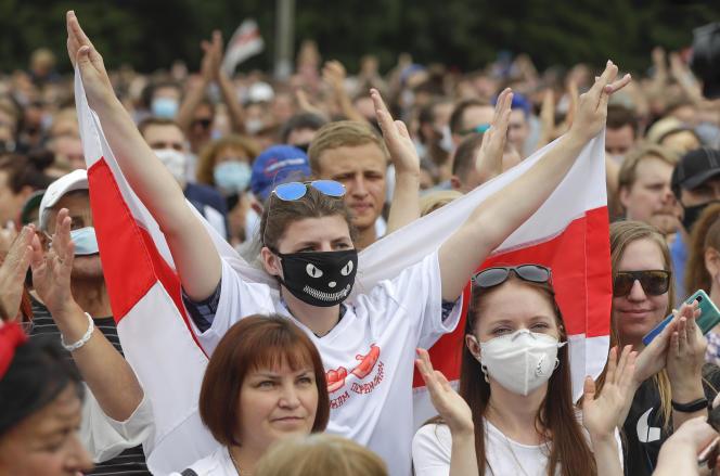 A Minsk, en Biélorussie, le 19 juillet 2020, lors d'un meeting de Svetlana Tikhanovskaya, candidate à l'élection présidentielle du 9 août.