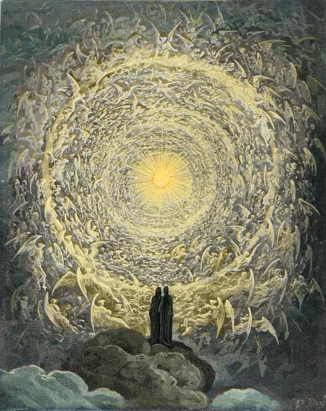 Dante et Béatrice au paradis, selon Gustave Doré (1860).