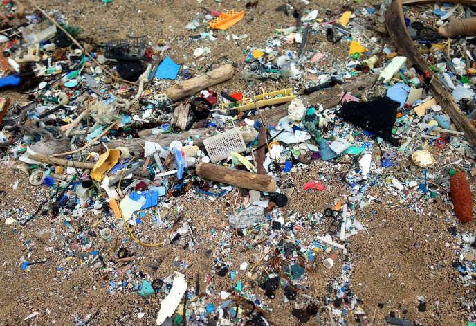 Déchets en plastique rejetés sur une plage d'Hawaï, en 2016.