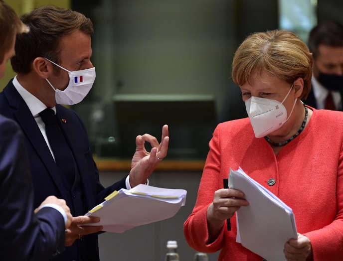 Angela Merkel et Emmanuel Macron lors du sommet européen qui s'est tenu le 20 juillet à Bruxelles.