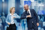 La présidente de la commission européenne Ursula Von Der Leyen et le président du conseil européen Charles Michel le 21 juillet, à Bruxelles.