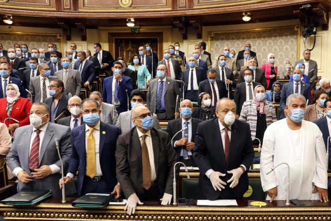 Députés du Parlement égyptien, au Caire, le 20 juillet 2020.