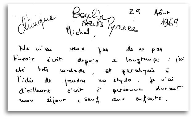 Dernière lettre de Gabrielle adressée à son ex-mari Michel Nogues, avant de quitter la clinique de la Recouvrance (Haute-Pyénées), le 29 août 1969.