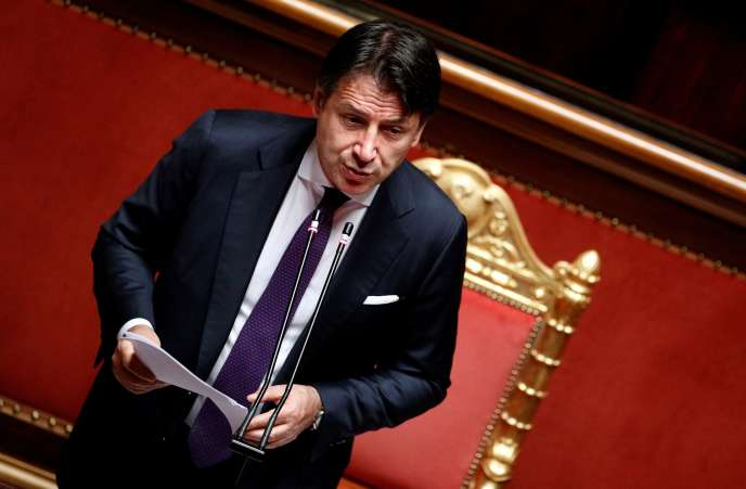 Au Sénat, à Rome, le 22 juillet 2020, le président du conseil italien Giuseppe Conte présente les grandes lignes de l'accord sur le plan de relance conclu à Bruxelles.