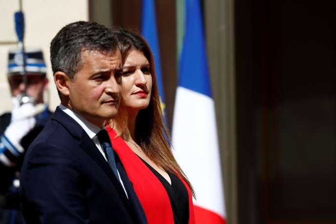 Gérald Darmanin, le ministre de l'intérieur, et Marlène Schiappa, ministre déléguée chargée de la citoyenneté, au ministère de l'Intérieur, le 7 juillet.