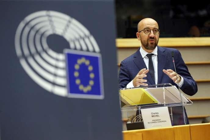 Le président du Conseil européen, Charles Michel, livre les conclusions du sommet européen extraordinaire, à Bruxelles, le 23 juillet.