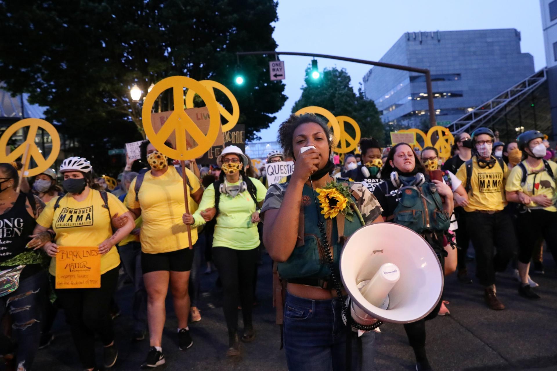 Les mères de famille, le 22juillet, à Portland.