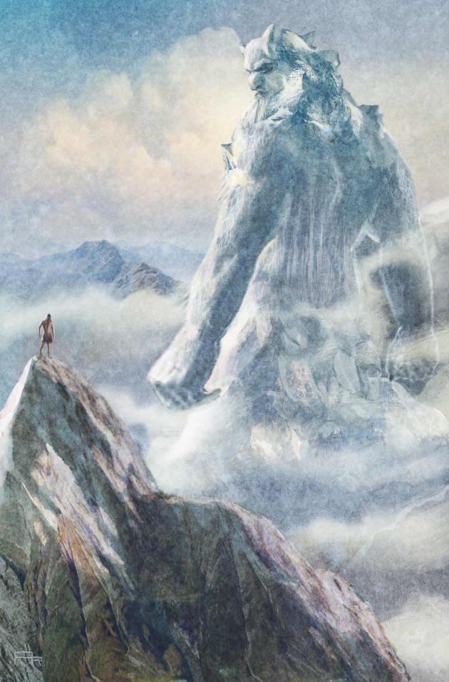 Ymir, la première créature vivante. Illustration du volume 2 de la collection, « Odin et les neuf mondes ».