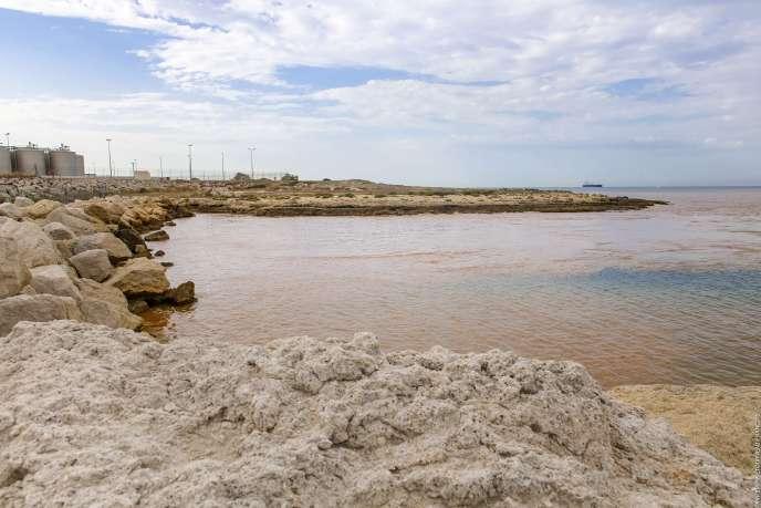 Une nappe de pollution brune-orangée recouvre la mer Méditerranée, à Martigues (Bouches-du-Rhône), près de Marseille, le 23 juillet.