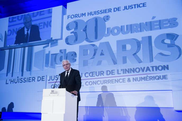 Patrick Sannino, président de la Chambre nationale des commissaires de justice, au Forum des huissiers de justice, en décembre2014.