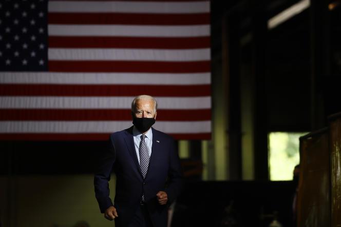 Joe Biden, candidat démocrate à la présidentielle 2020, lors d'une intervention aux industries McGregor à Dunmore, Pennsylvanie, le 9 juillet.