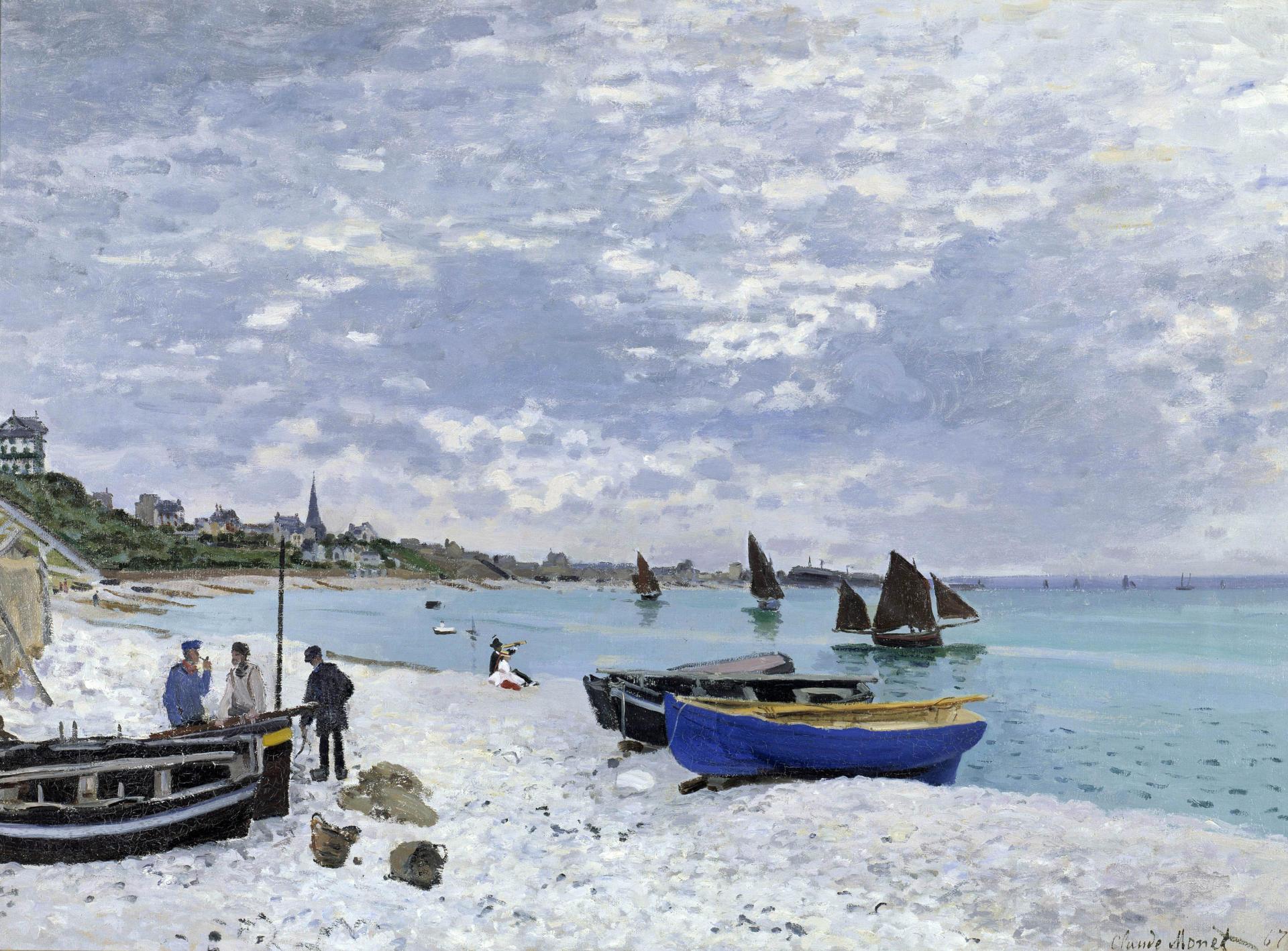 «La Plage de Sainte-Adresse»(1867), de Claude Monet (1840-1926). Art Institute Chicago.