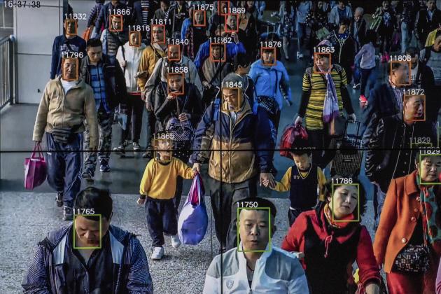 Capture d'écran d'une vidéo provenant d'un logiciel de reconnaissance faciale utilisée au siège social de l'entreprise technologique Megvii, à Pékin, le 10 mai 2018.