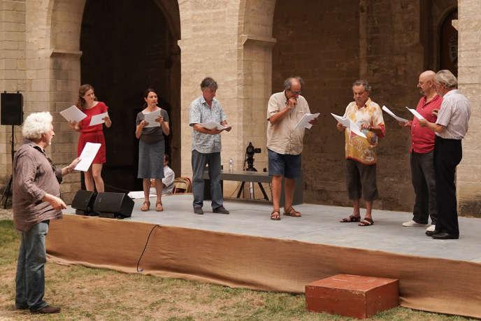 Représentation de «Touristophane»dans le Palais des papes, à Avignon le 23 juillet 2020.