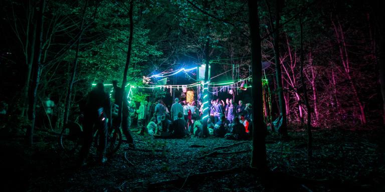 Fete libre organisee par le collectif Microclimat dans le bois de Vincennes a l'occasion de la fete de la musique