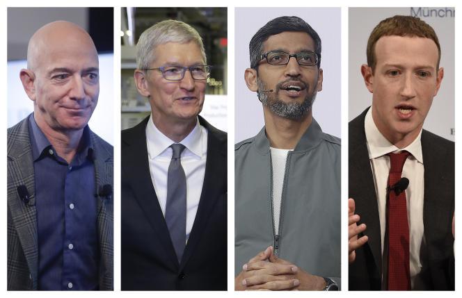 Le PDG d'Amazon, Jeff Bezos, le PDG d'Apple, Tim Cook, le PDG d'Alphabet (Google), Sundar Pichai, et le PDG de Facebook, Mark Zuckerberg.
