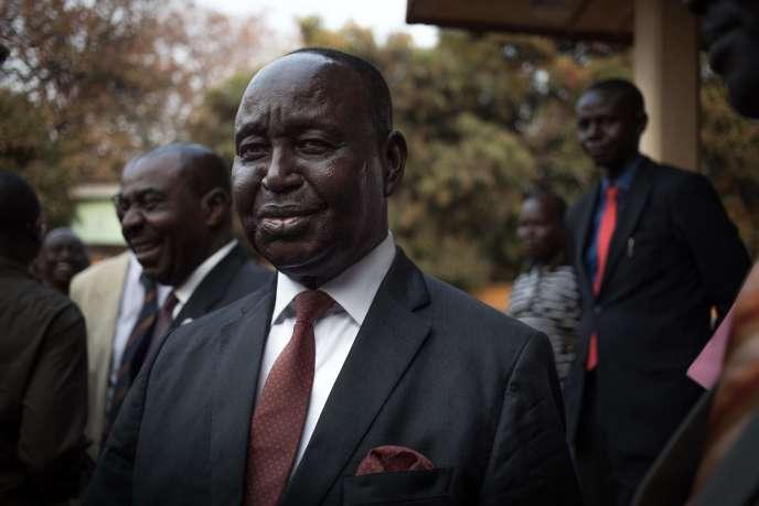 L'ancien président de la République centrafricaine François Bozize le jour de sa première conférence de presse depuis son retour d'exil, au siège de Kwa Na Kwa à Bangui, en République centrafricaine (RCA), le 27 janvier 2020.