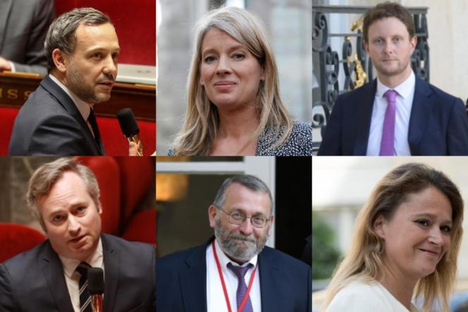 Adrien Taquet (en haut à gauche), Bérangère Abba, Clément Beaune, Jean-Baptiste Lemoyne, Joël Giraud et Olivia Grégoire font partie des secrétaires d'Etat nommés dimanche.