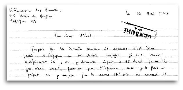 Lettre de prison censurée, adressée à son ex-mari, Michel Nogues, le 16 mai 1969.