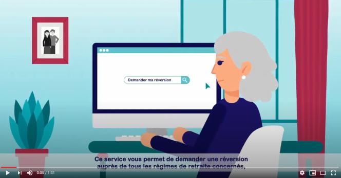 Copie d'écran de la vidéo explicative du service de demande unique de réversion en ligne.