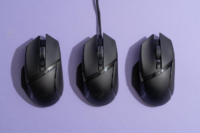 La Basilisk Ultimate (à gauche) possède une texture de surface plus lisse que la Basilisk V2 (au milieu) et que la Basilisk X HyperSpeed (à droite). Cependant, elles ont toutes la même taille et la même forme.