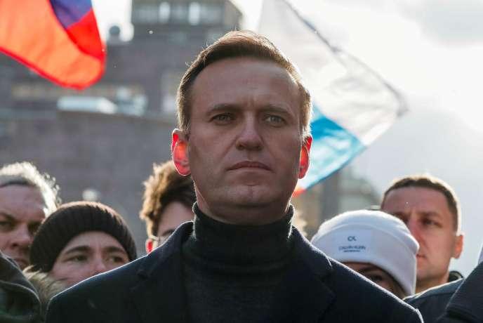 Navalny, lors d'un rassemblement marquant le 5e anniversaire du meurtre de l'opposant de Poutine Boris Nemtsov, à Moscou le 29 février 2021.