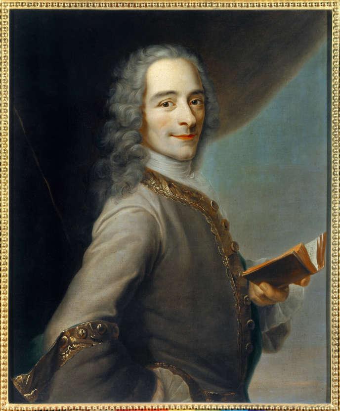 Portrait de Francois Marie Arouet dit Voltaire (1694-1778), en 1736, signé Quentin De La Tour.
