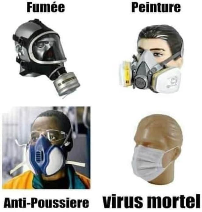 Capture d'écran d'une image populaire sur Facebook s'étonnant qu'un masque chirurgical semble moins protecteur qu'un masque antipoussière, par exemple.