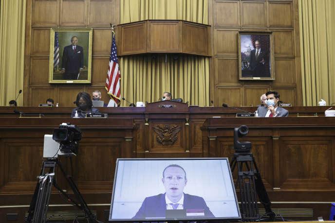 Les dirigeants des GAFA ont été interrogés à distance par les élus américains de la Chambre des représentants, à Washington, le 29 juillet.