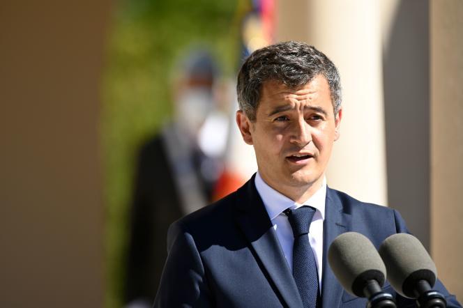 Gérald Darmanin, ministre de l'intérieur, rend hommage aux soldats musulmans de la première guerre mondiale, le 29 juillet à Douaumont (Meuse).