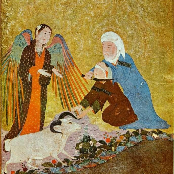Le sacrifice d'Abraham, manuscrit timouride, 1410-1411,Shiraz, Musée Gulbenkian de Lisbonne.