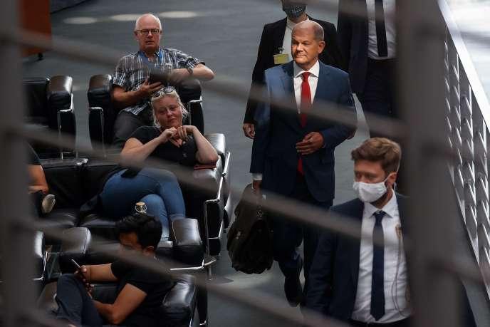 Le ministre allemand des finances et vice-chancelier Olaf Scholz arrive pour son audition sur le scandale de fraude Wirecard. Berlin, le 29 juillet.