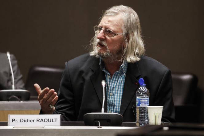 Didier Raoult devant la commission d'enquête de l'Assemblée nationale, le 24 juin àParis.