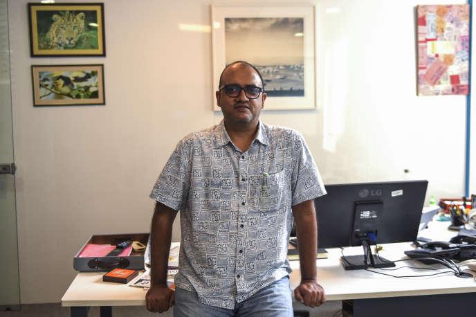 Sukumar Ranganathan dans son bureau, à New Delhi, le 30 juillet.