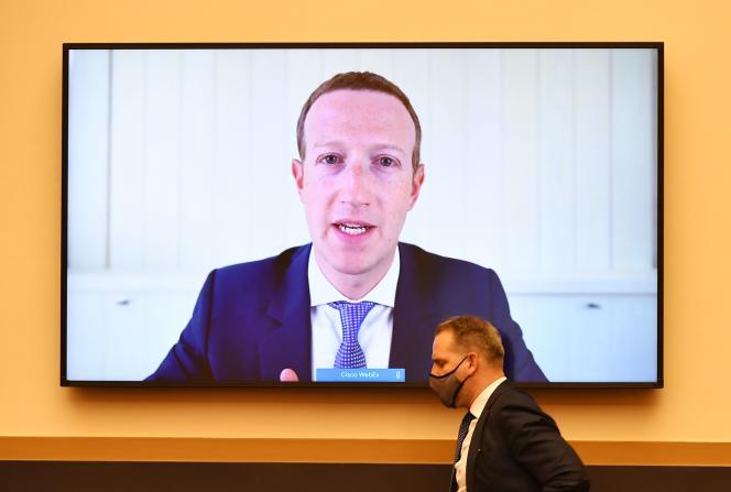 Le PDG et fondateur de Facebook, Mark Zuckerberg, témoigne par visioconférence devant les élus de la Chambre des représentants, mercredi 29 juillet.