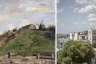 «La Colline de Montmartre avec une carrière de pierres» (1886), de Vincent van Gogh et le point de vue de Van Gogh sur Montmartre en 2020.
