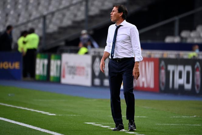 L'entraîneur de Lyon, Rudi Garcia, au Stade de France, lors de la finale de la Coupe de la Ligue contre le PSG, le 31 juillet 2020 à Saint-Denis.